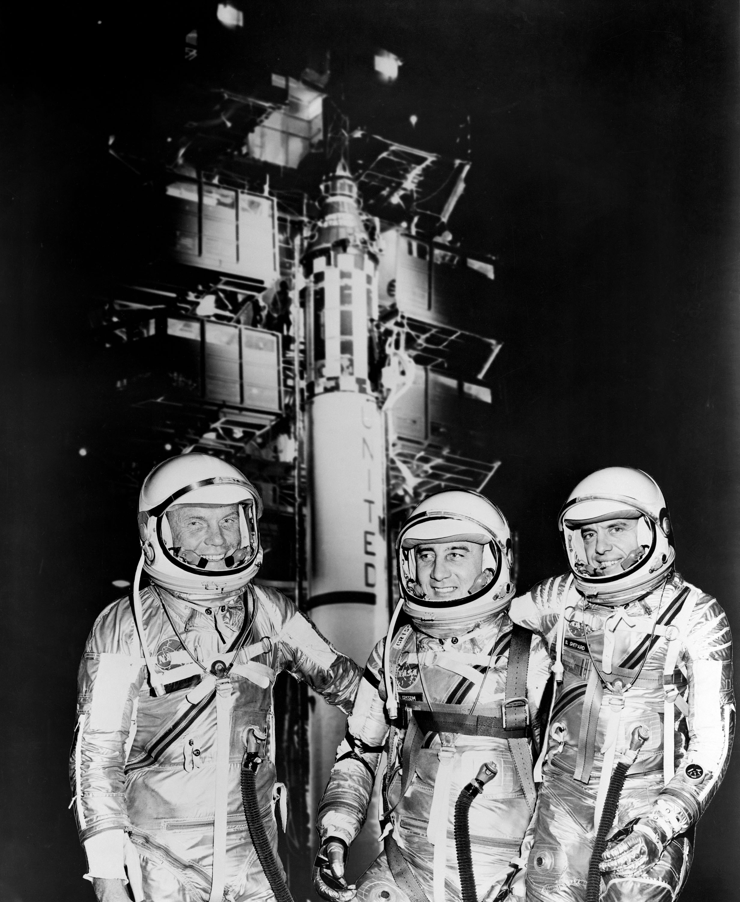Group portrait of the first two groups of astronauts selected NASA ...