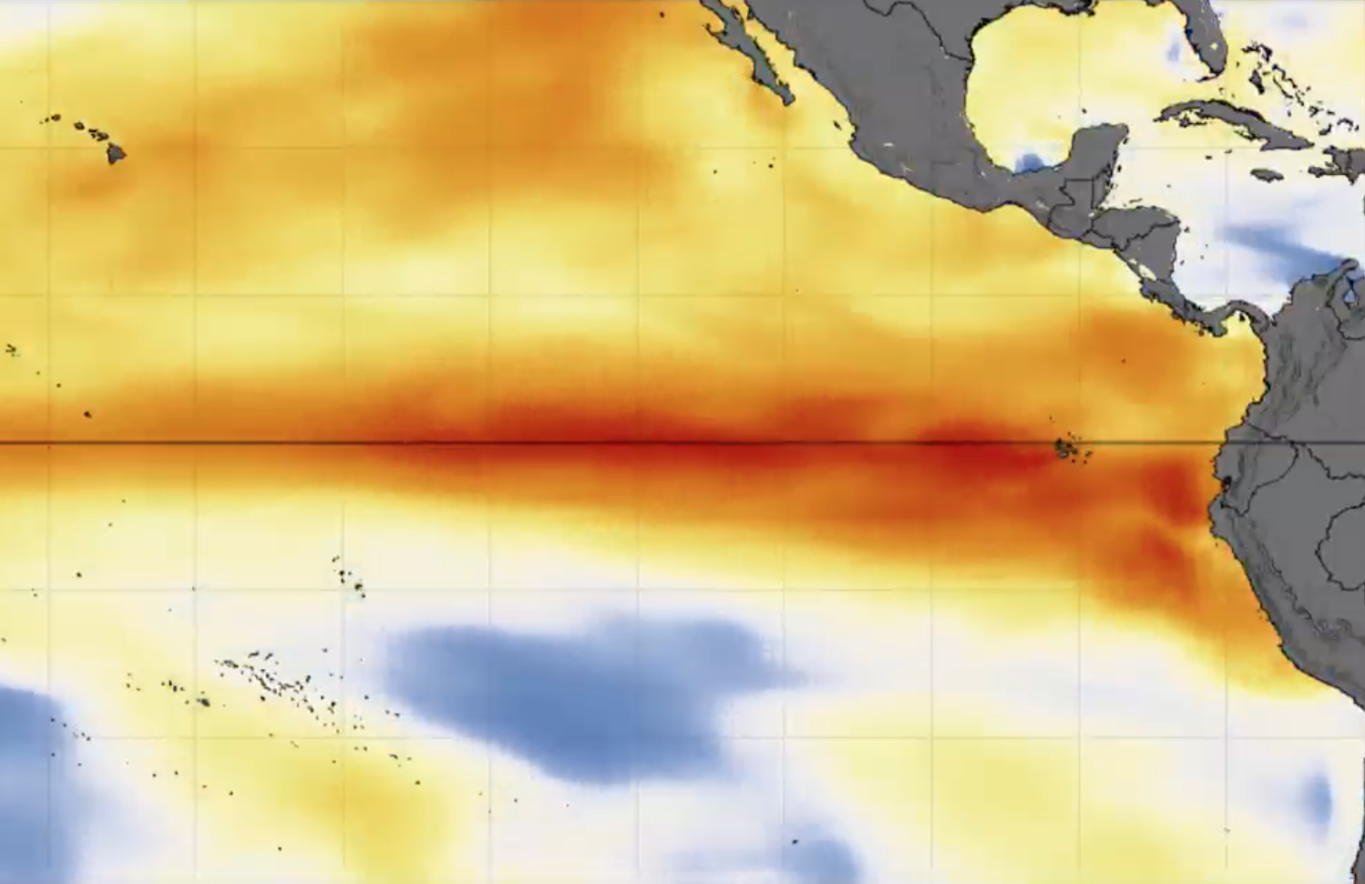 Earth Pacific Ocean Mapped By Sea Surface Temerature Data