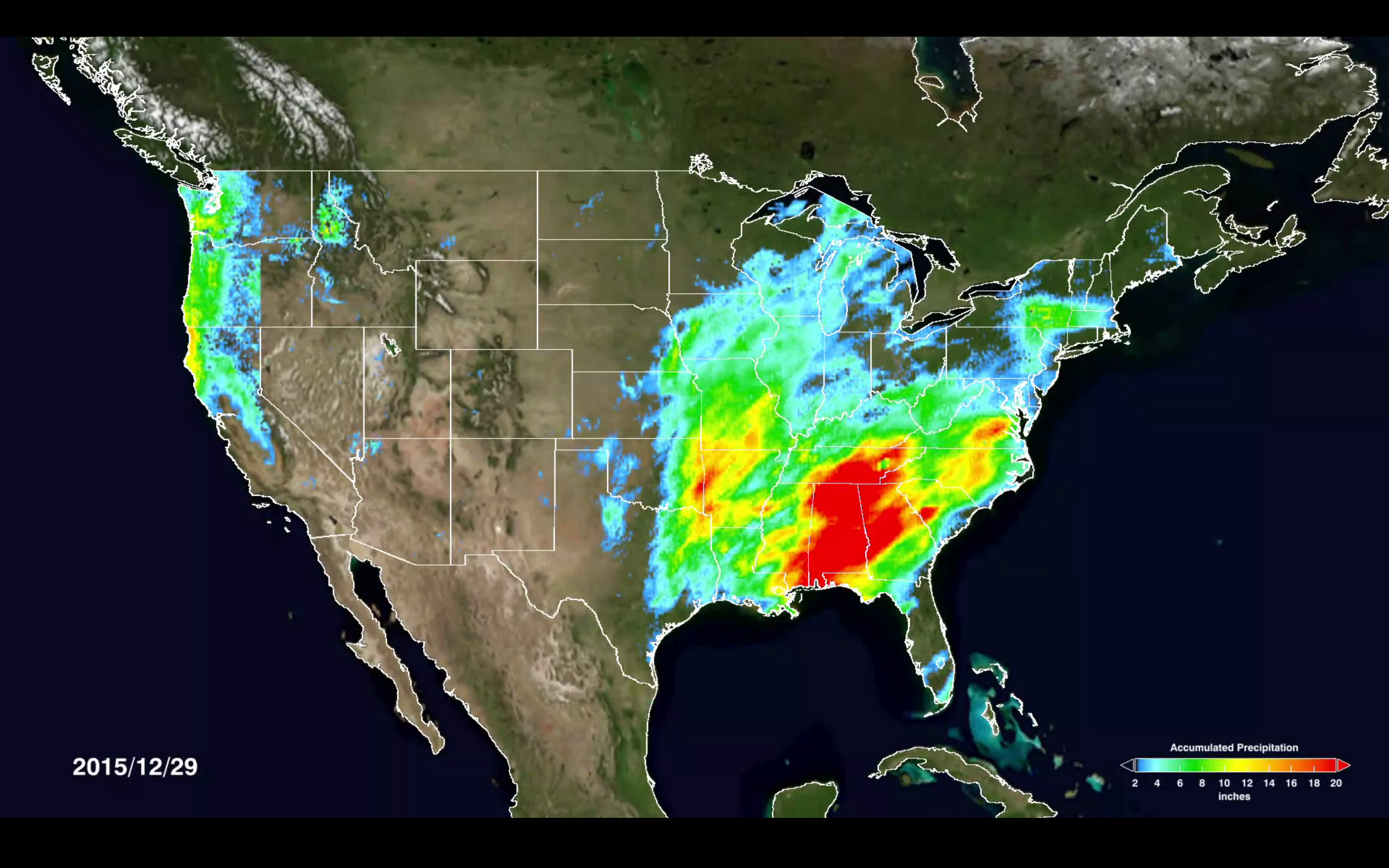 earth satellite map of us with colored rain data overlay