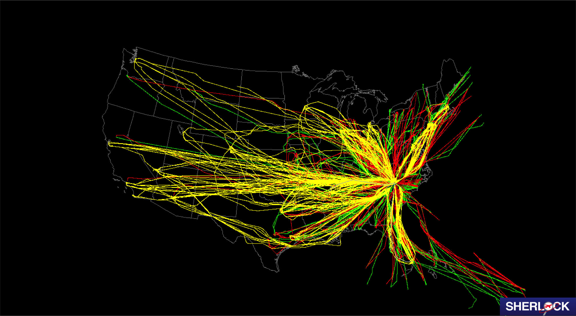 map of the united states showing colored air traffic lines crossing the country