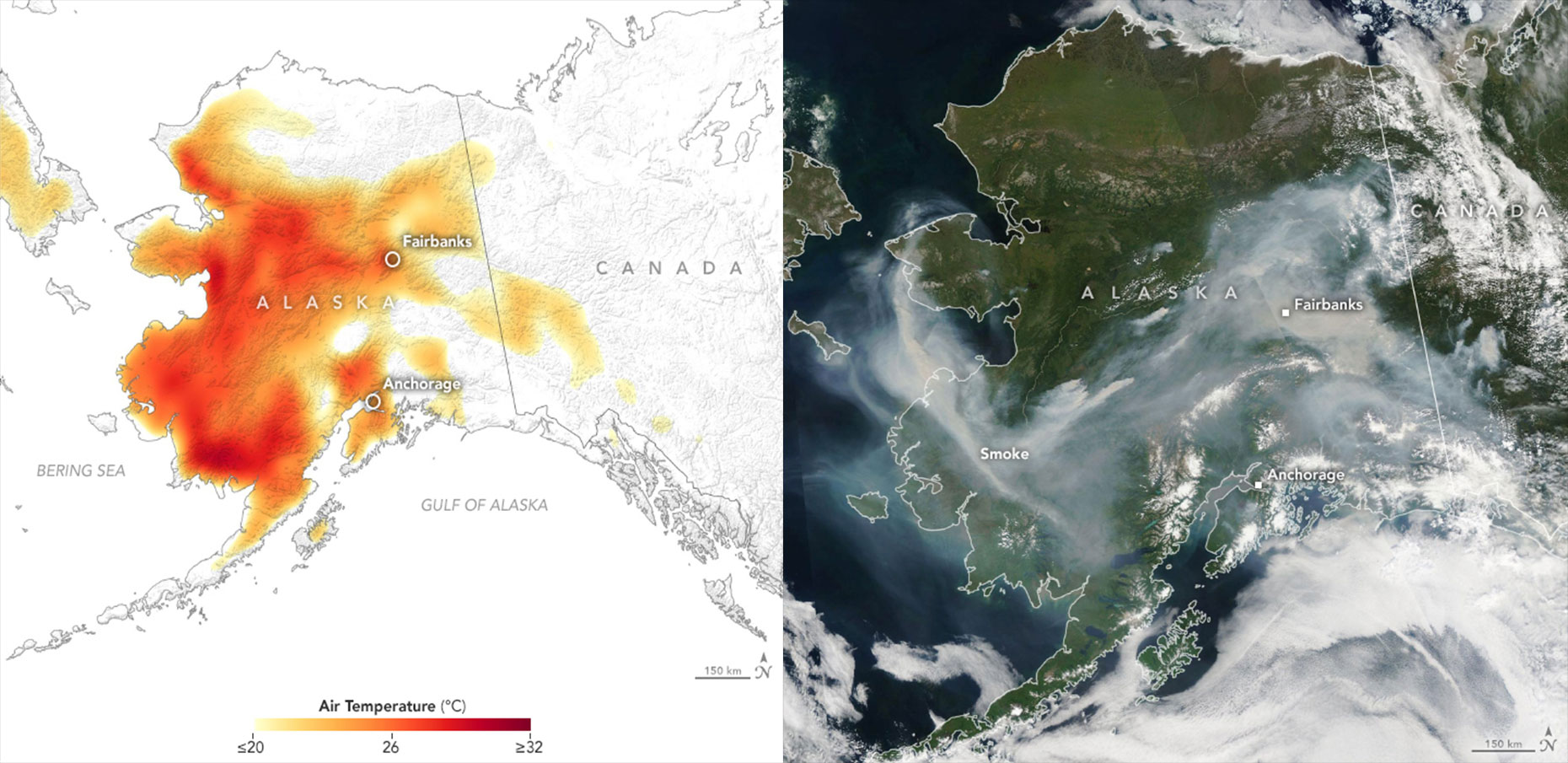 air temperature map + smoke from lightening-triggered wildfires
