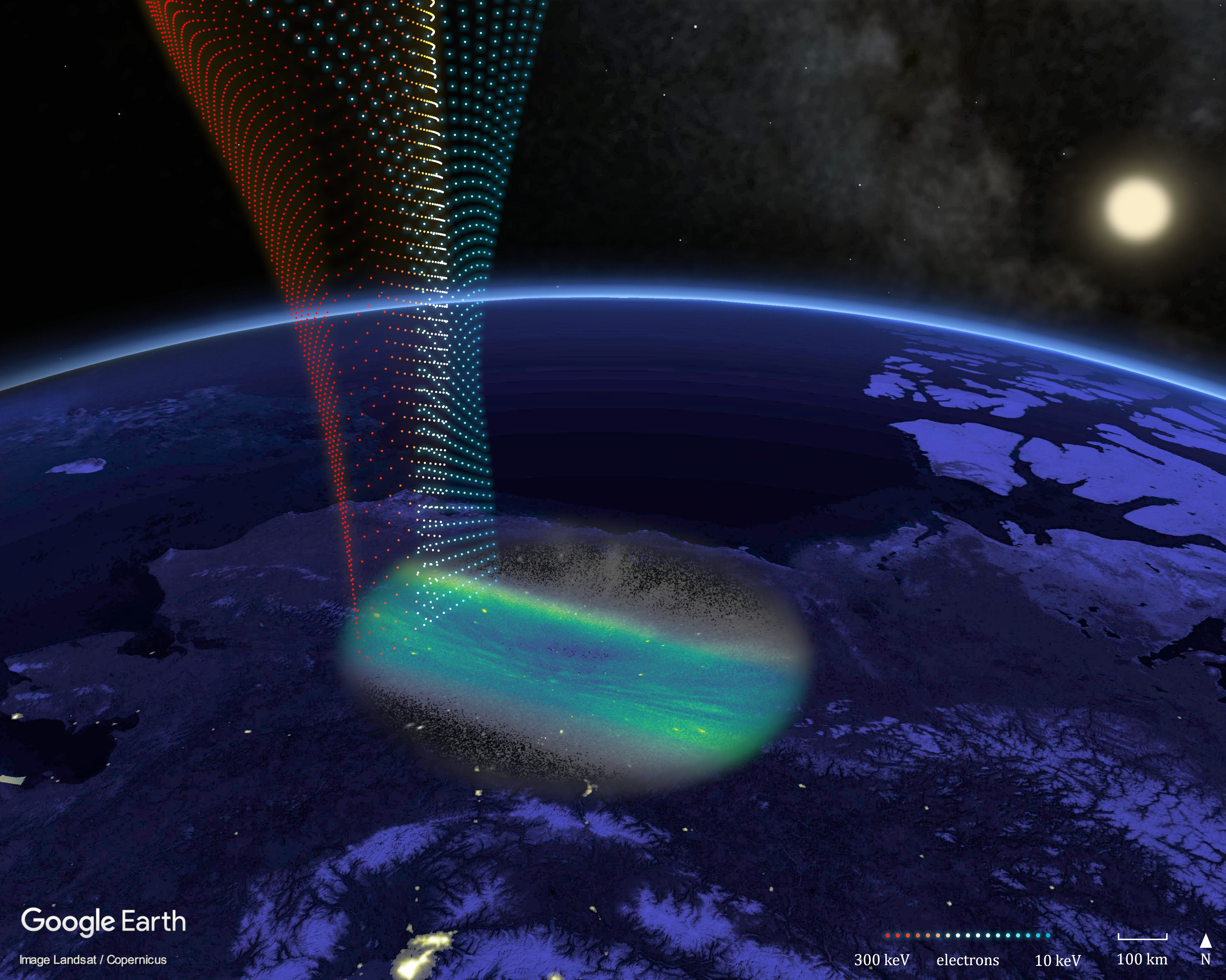 Aurora Streaks Found to Map Features in Earth's Radiation