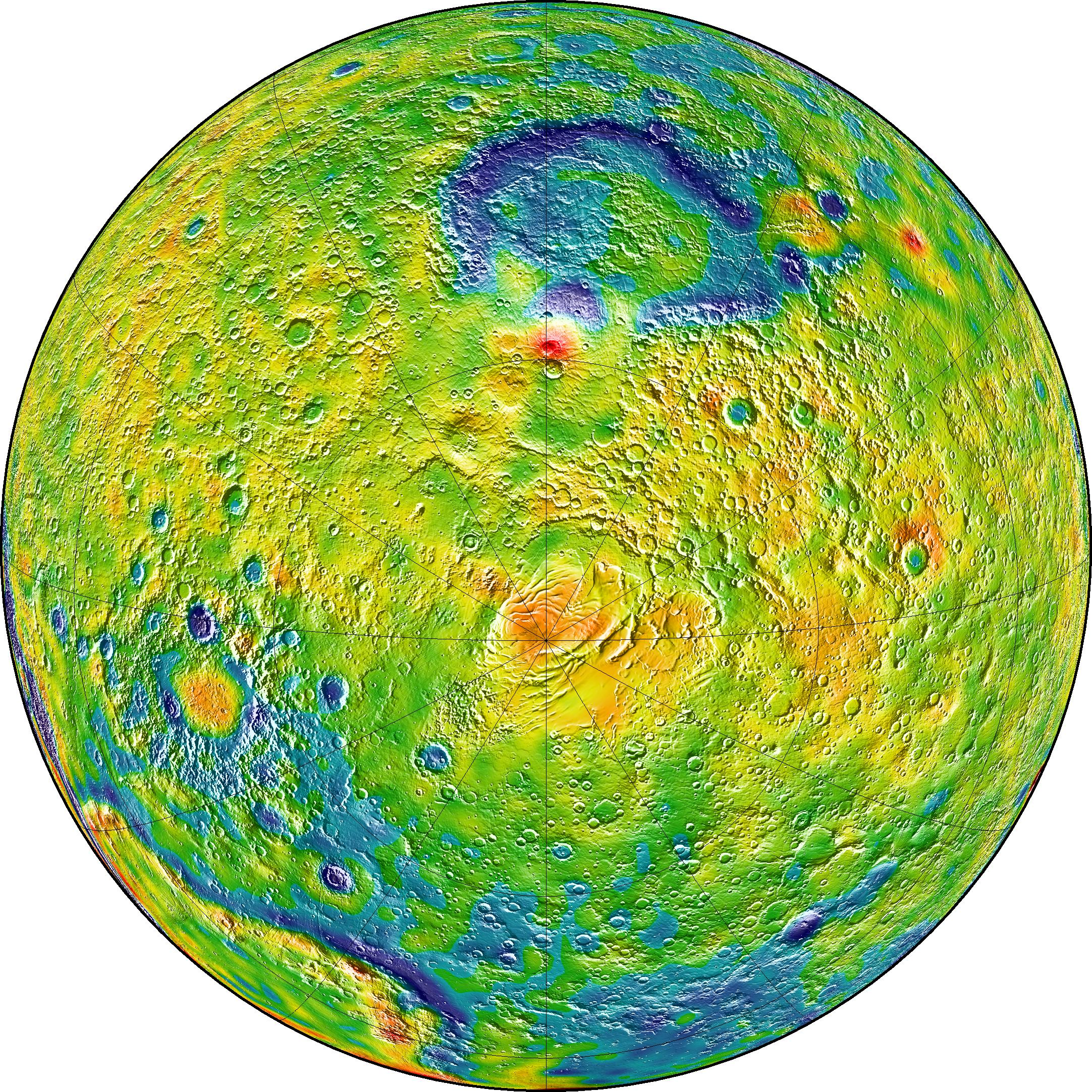 New Mars Gravity Map - Picture of a map