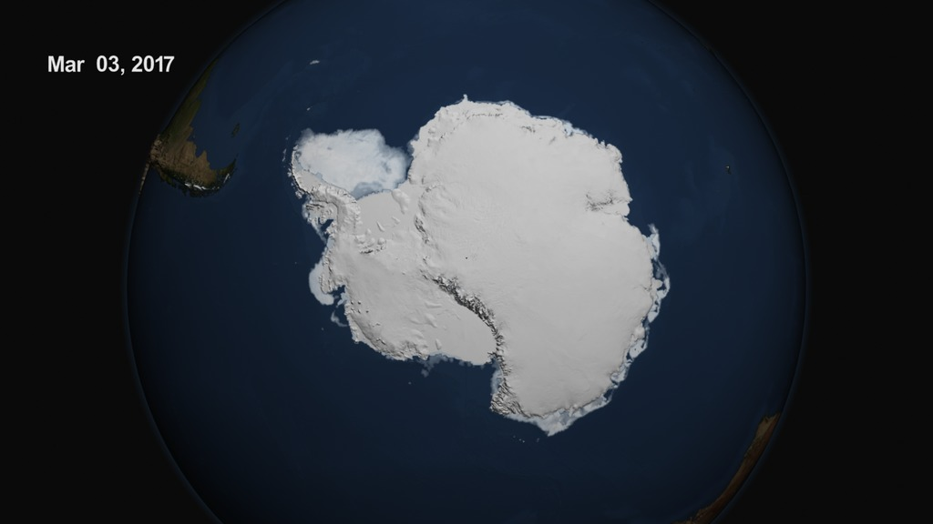 On March 3, 2017, the sea ice cover around the Antarctic continent shrunk to its lowest yearly minimum extent in the satellite record, in a dramatic shift after decades of moderate sea ice expansion.