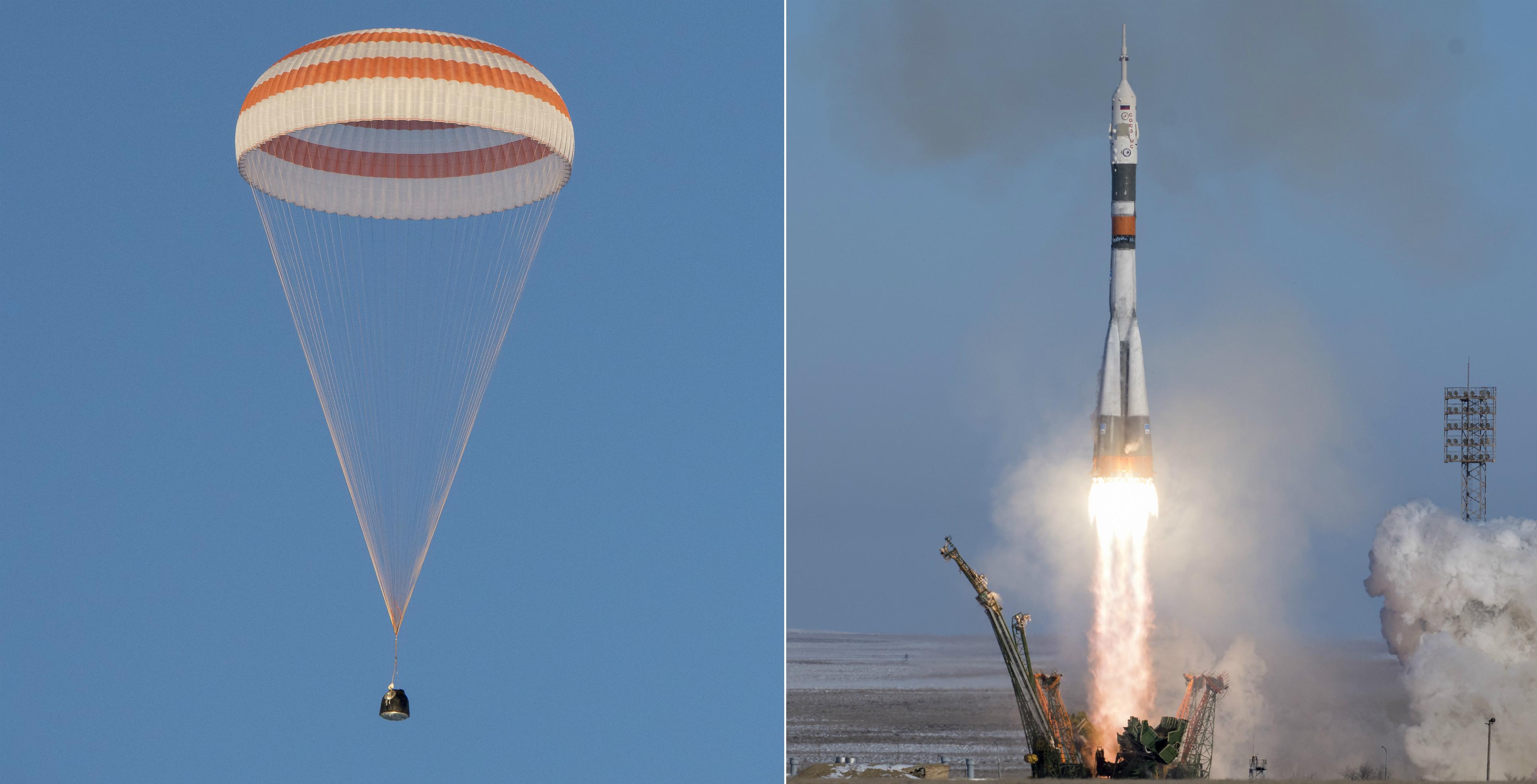 美国国家航空航天局一个空间站的机组人员返航,另一个发射