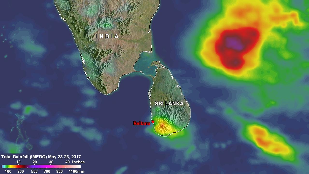 Imerg Rainfall Totals Over Sri Lanka
