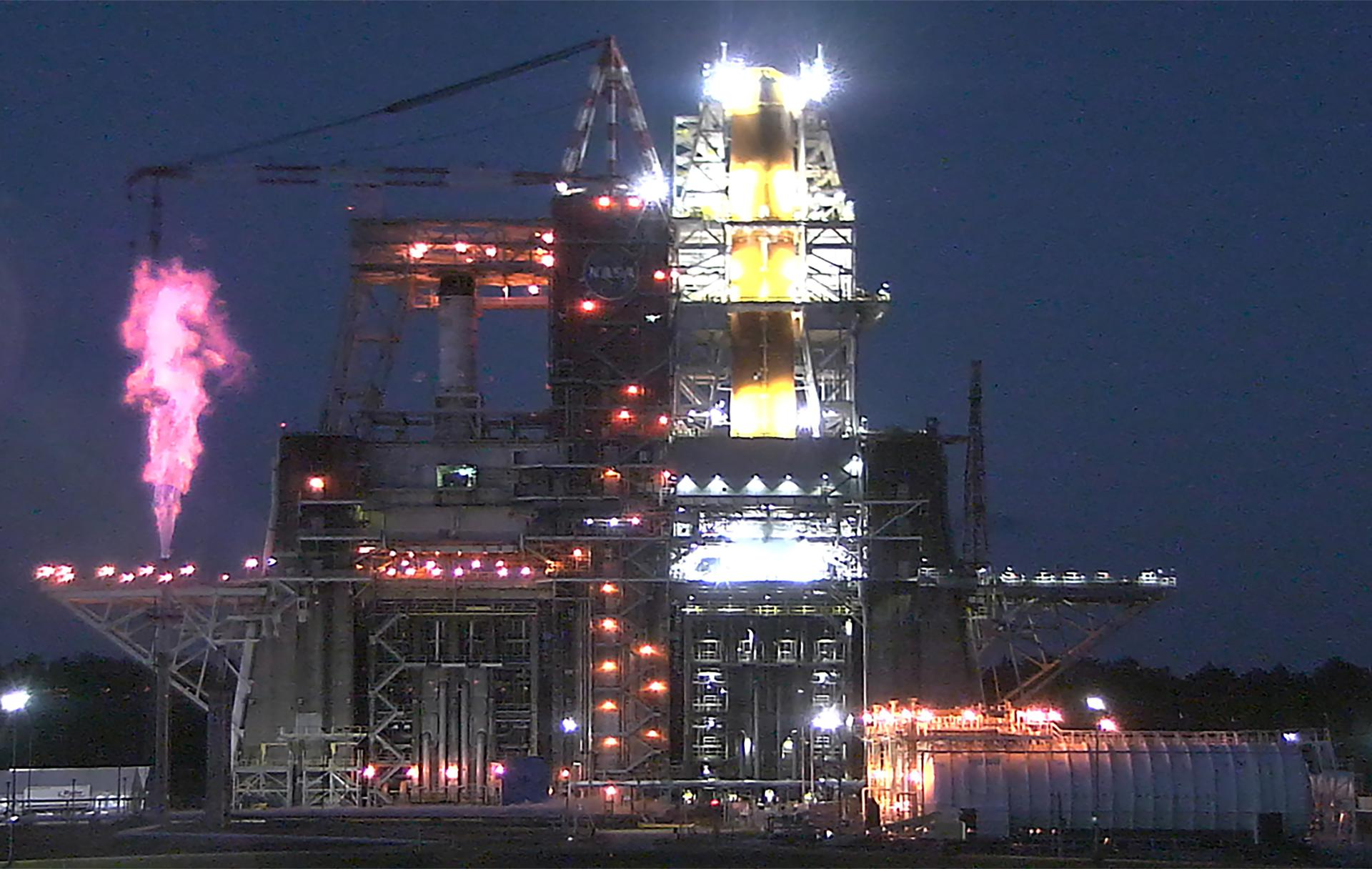 NASA is targeting a two-hour test window that opens at 5 p.m. EST Saturday, Jan. 16, for the hot fire test of NASA's Space Launch System (SLS) rocket core stage at the agency's Stennis Space Center near Bay St. Louis, Mississippi.