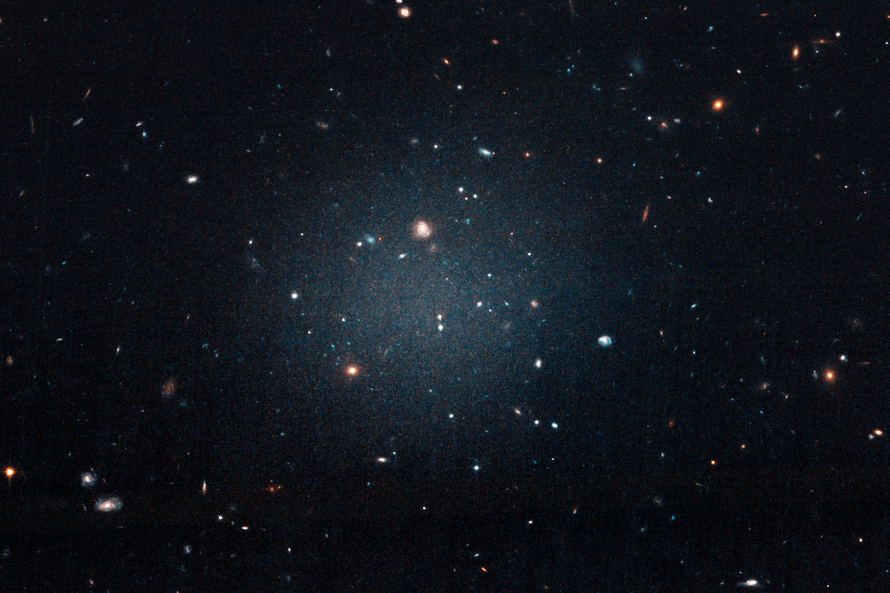 "This large, fuzzy-looking galaxy is so diffuse that astronomers call it a ""see-through"" galaxy because they can clearly see distant galaxies behind it. The ghostly object, catalogued as NGC 1052-DF2, doesn't have a noticeable central region, or even spiral arms and a disk, typical features of a spiral galaxy. But it doesn't look like an elliptical galaxy, either. Even its globular clusters are oddballs: they are twice as large as typical stellar groupings seen in other galaxies. All of these oddities pale in comparison to the weirdest aspect of this galaxy: NGC 1052-DF2 is missing most, if not all, of its dark matter.  Credits: NASA, ESA, and P. van Dokkum (Yale University)"