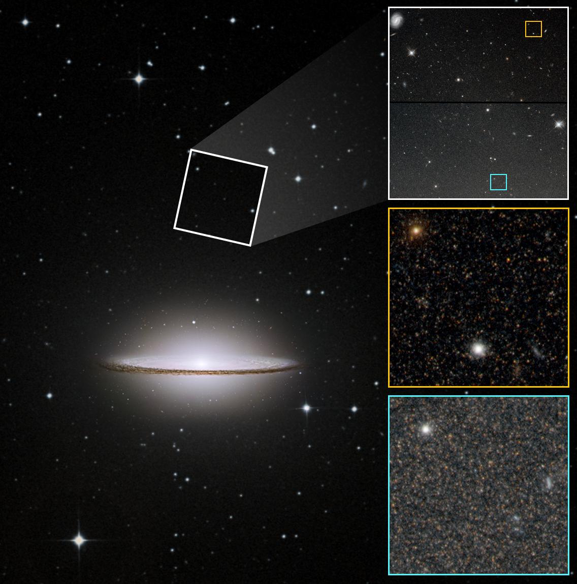 M104 Sombrero galaksen og udsnit af dens halo af stjerner