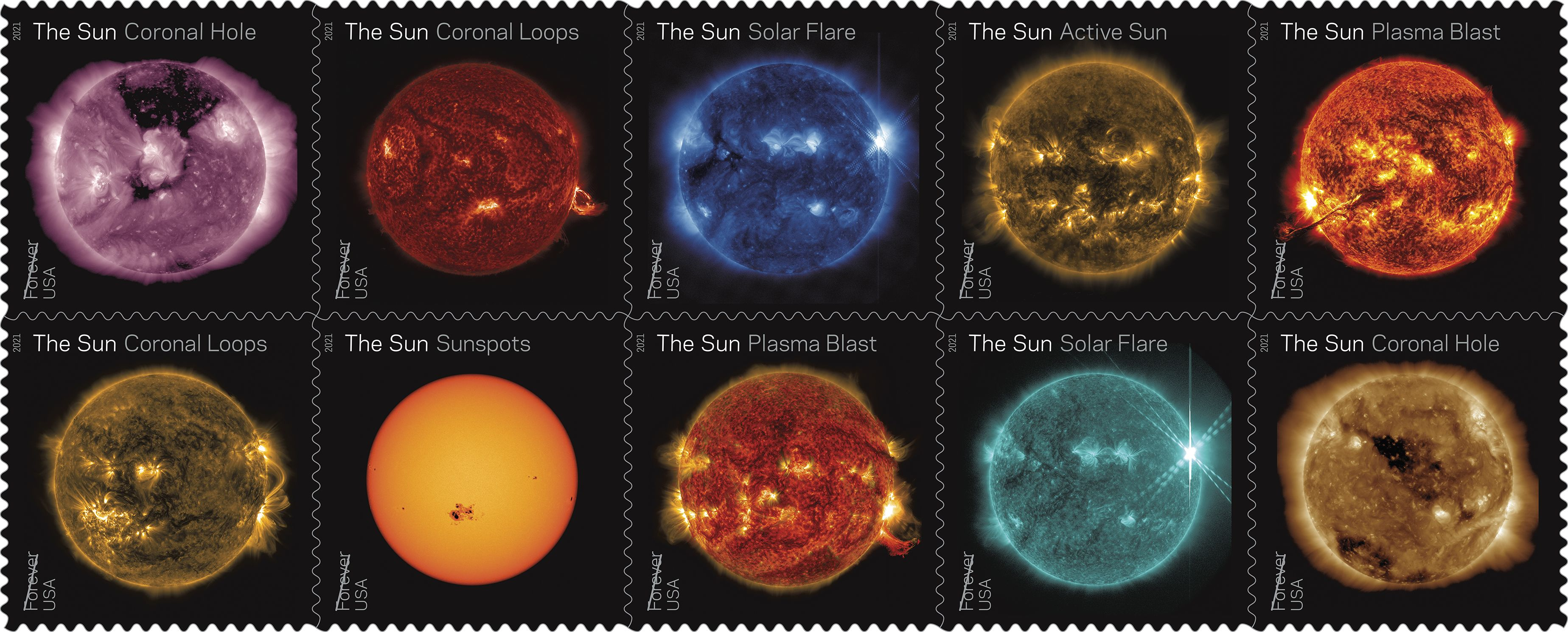 Sun Science Stamps Highlight a Decade of Sun-Watching from Space - NASA