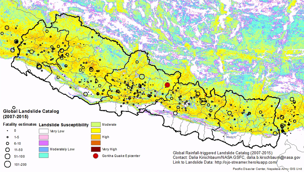 Landslide susceptibility pre quake estimateglobal landslide this preliminary map shows regional landslide susceptibility in nepal gumiabroncs Choice Image
