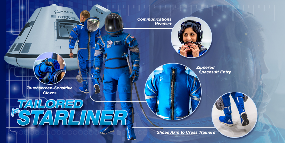 Astronauts heading into orbit aboard Boeing's Starliner spacecraft will wear lighter and more comfortable spacesuits than earlier suits astronauts wore. The suit capitalizes on historical designs, meets NASA requirements for safety and functionality, and introduces cutting-edge innovations. Boeing unveiled its spacesuit design Wednesday as the company continues to move toward flight tests of its Starliner spacecraft and launch systems that will fly astronauts to the International Space Station.