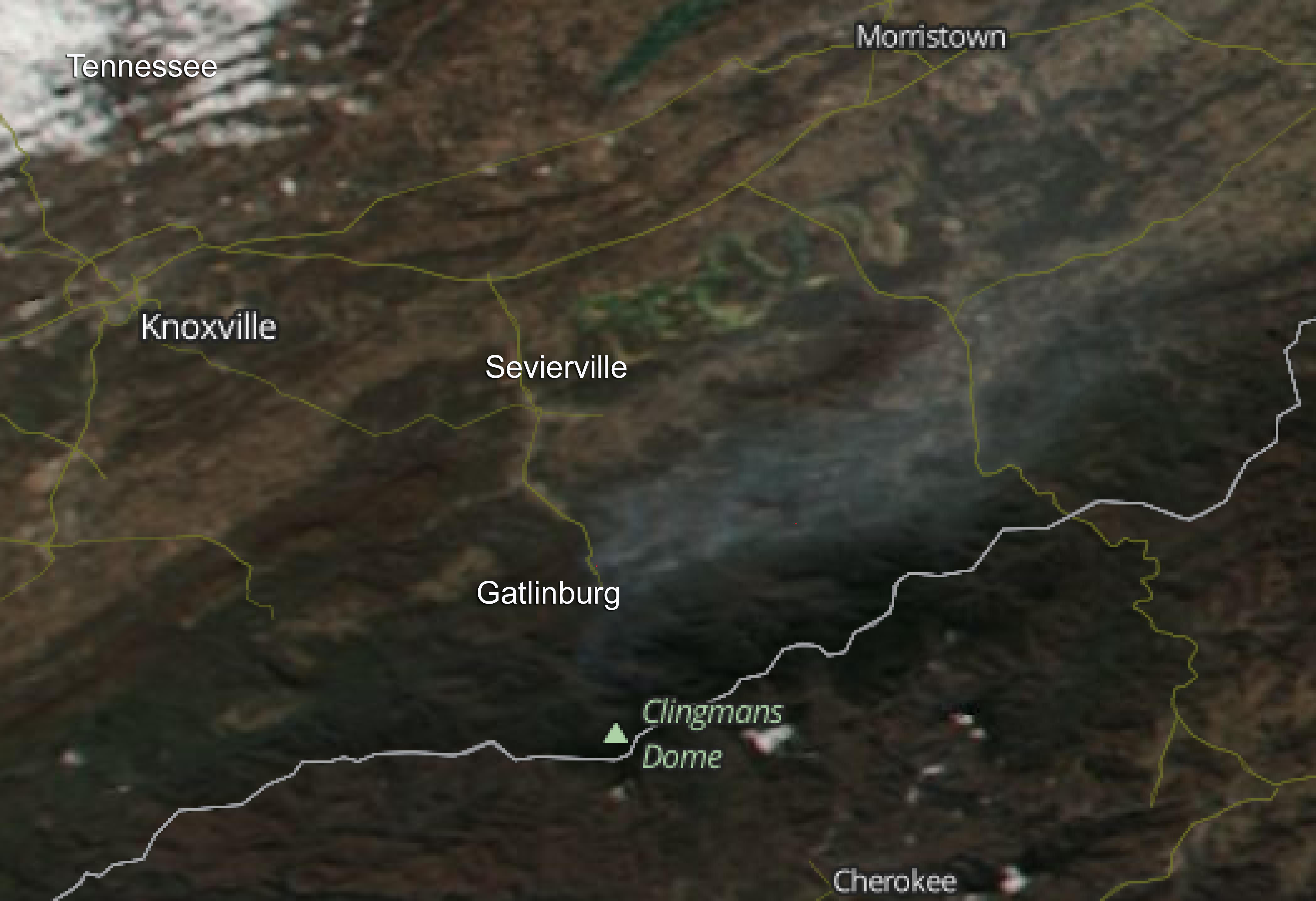 Suomi Npp Image Of Smoke From Fires In Tennessee