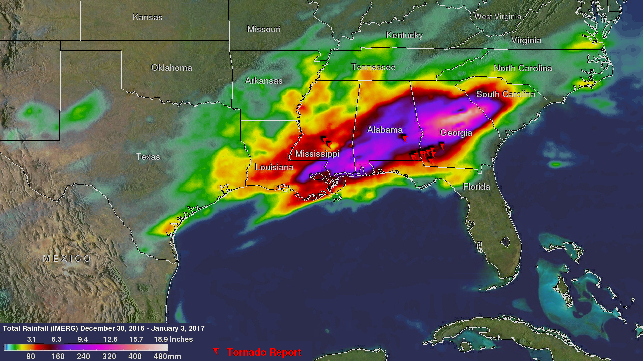 NASA Adds Up Heavy Rainfall From Southeastern US Severe Weather NASA - Southeast us weather map