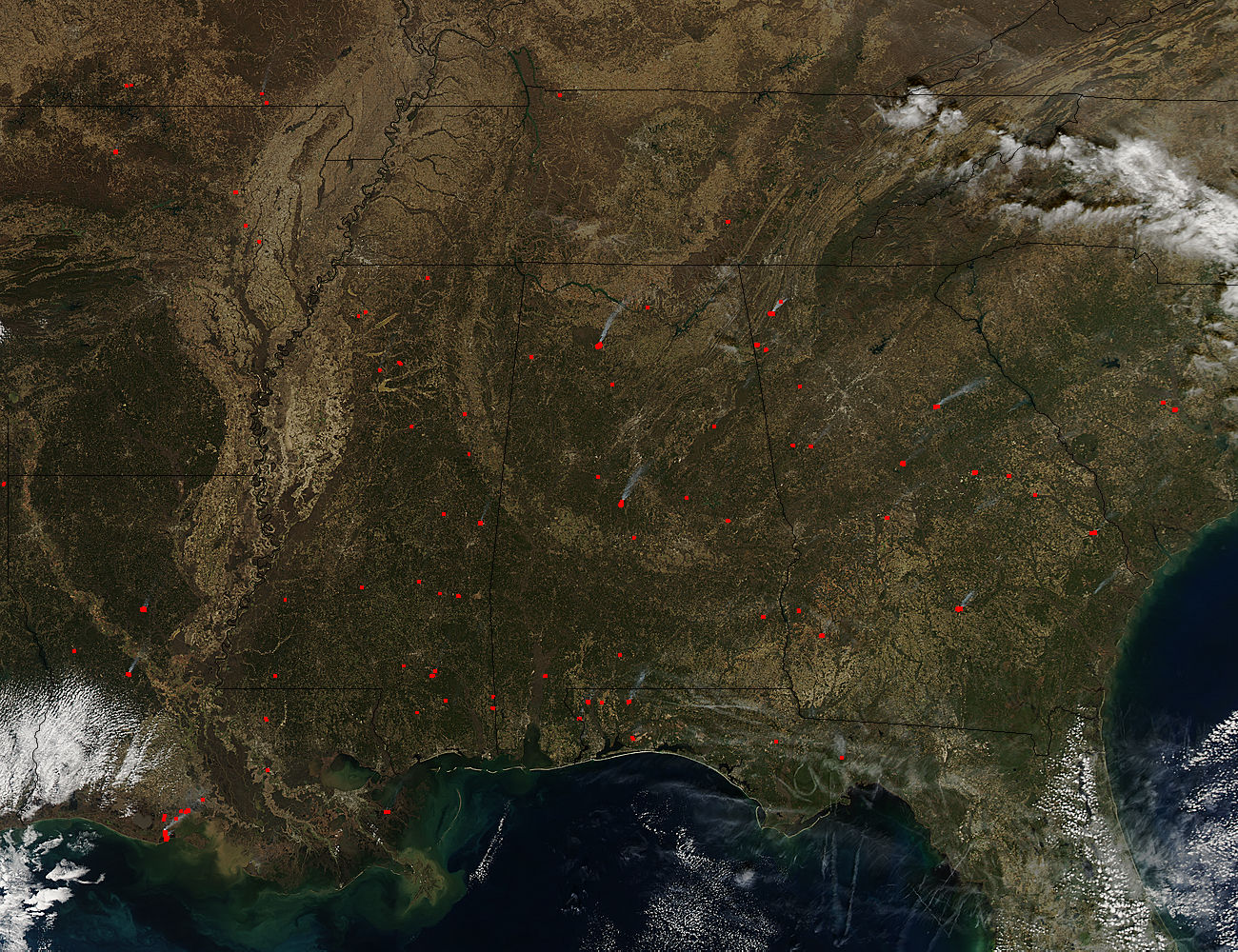 Fires Dot The Southeastern United States NASA - Map of fires in southeast us