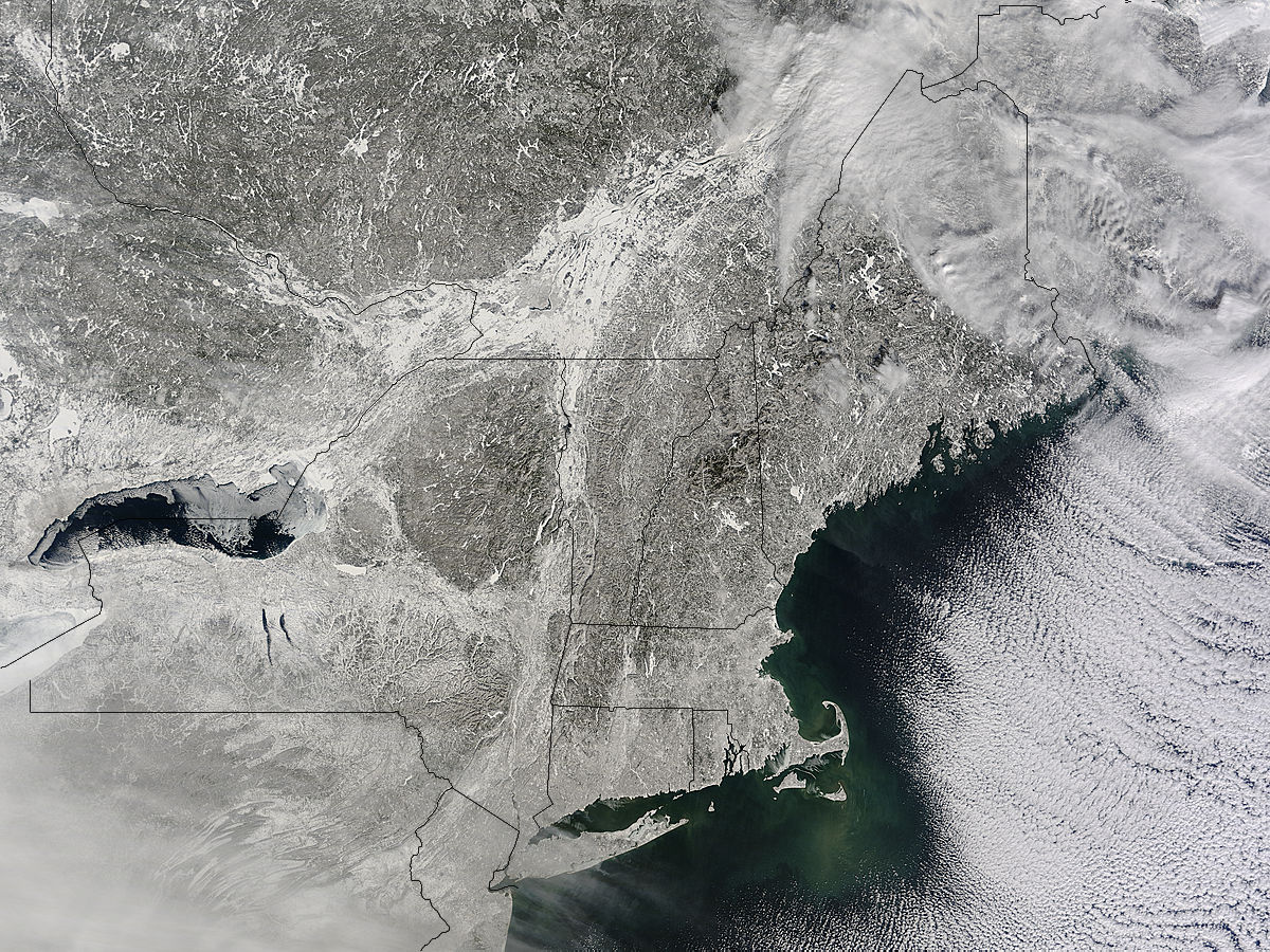 NASA Sees Winters Northeastern US Snowcover Extend Farther - Us snow cover map weather com