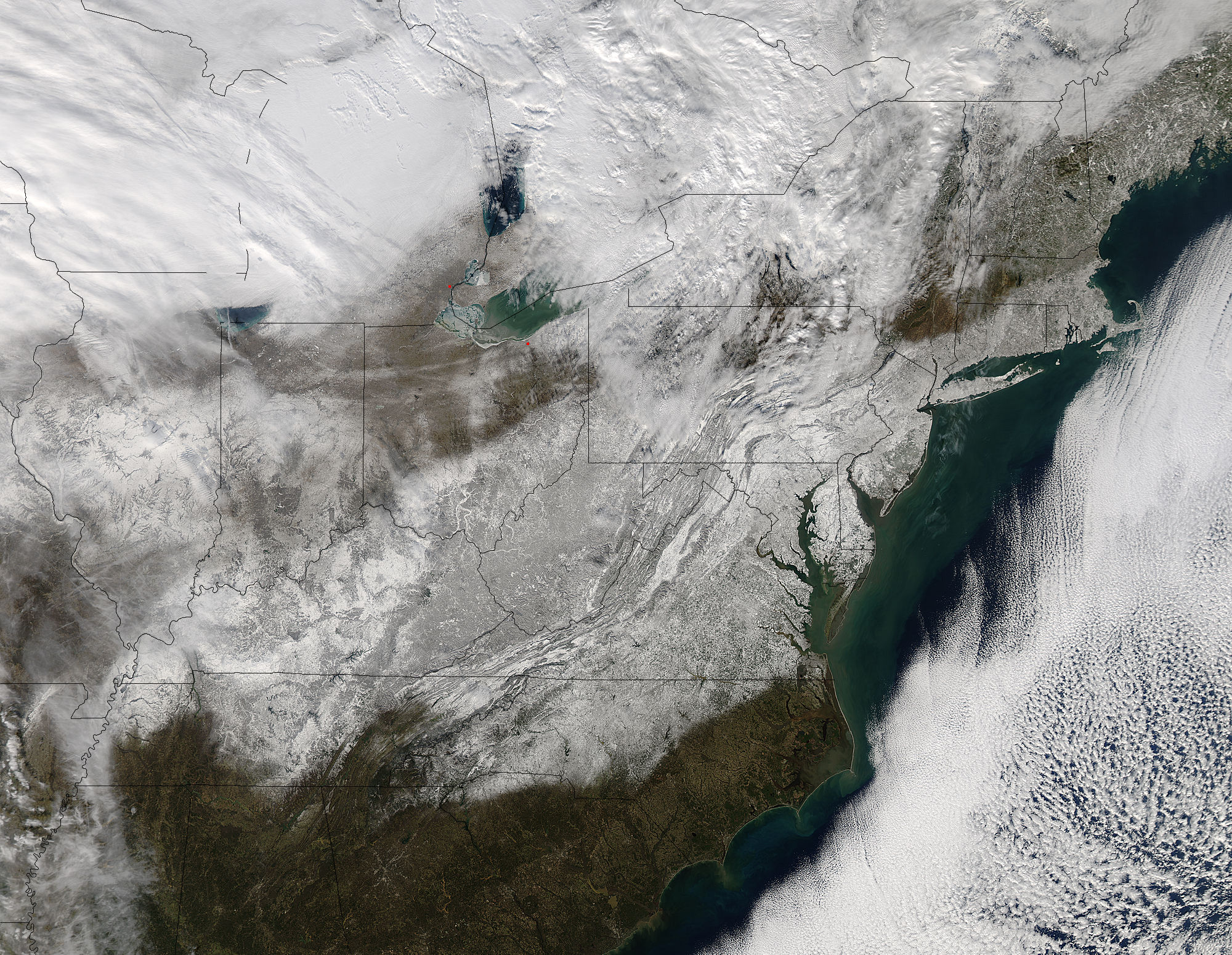 Aqua Image Of The Eastern Us After Blizzard 2016