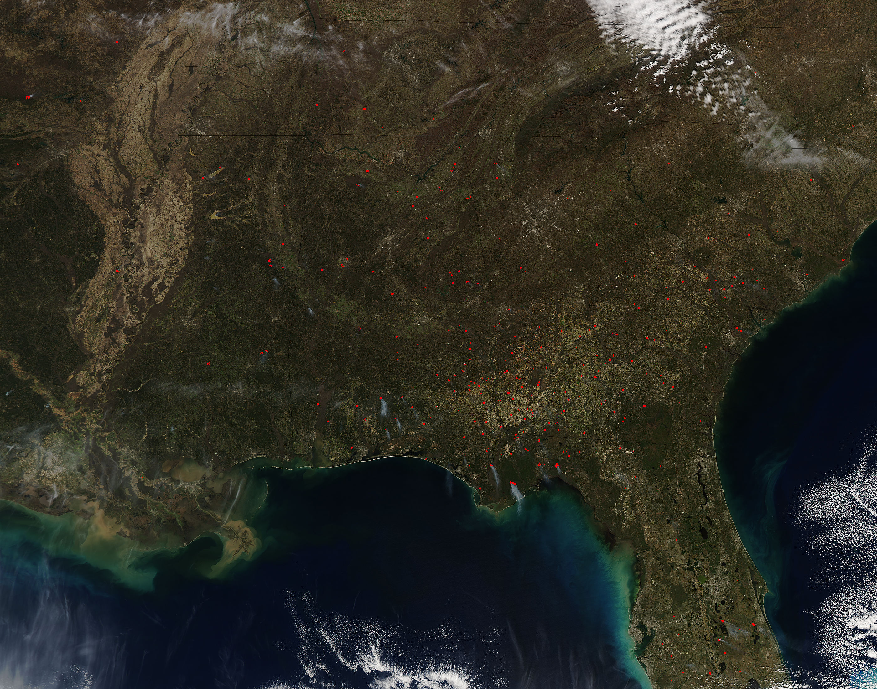 Fires In Southeast United States Both Wild And Prescribed NASA - Map of fires in southeast us