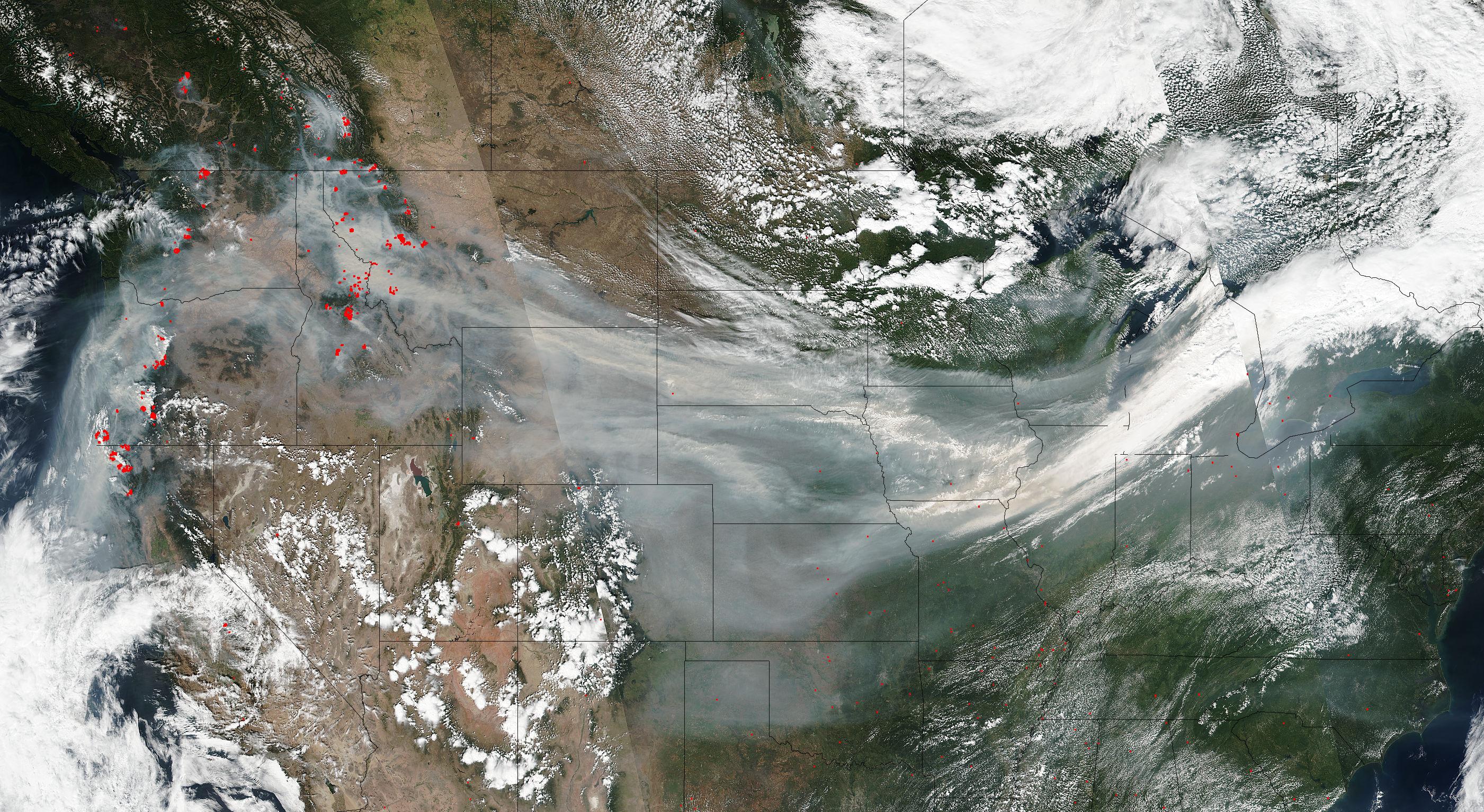 Wildfire Smoke Crosses US On Jet Stream  NASA