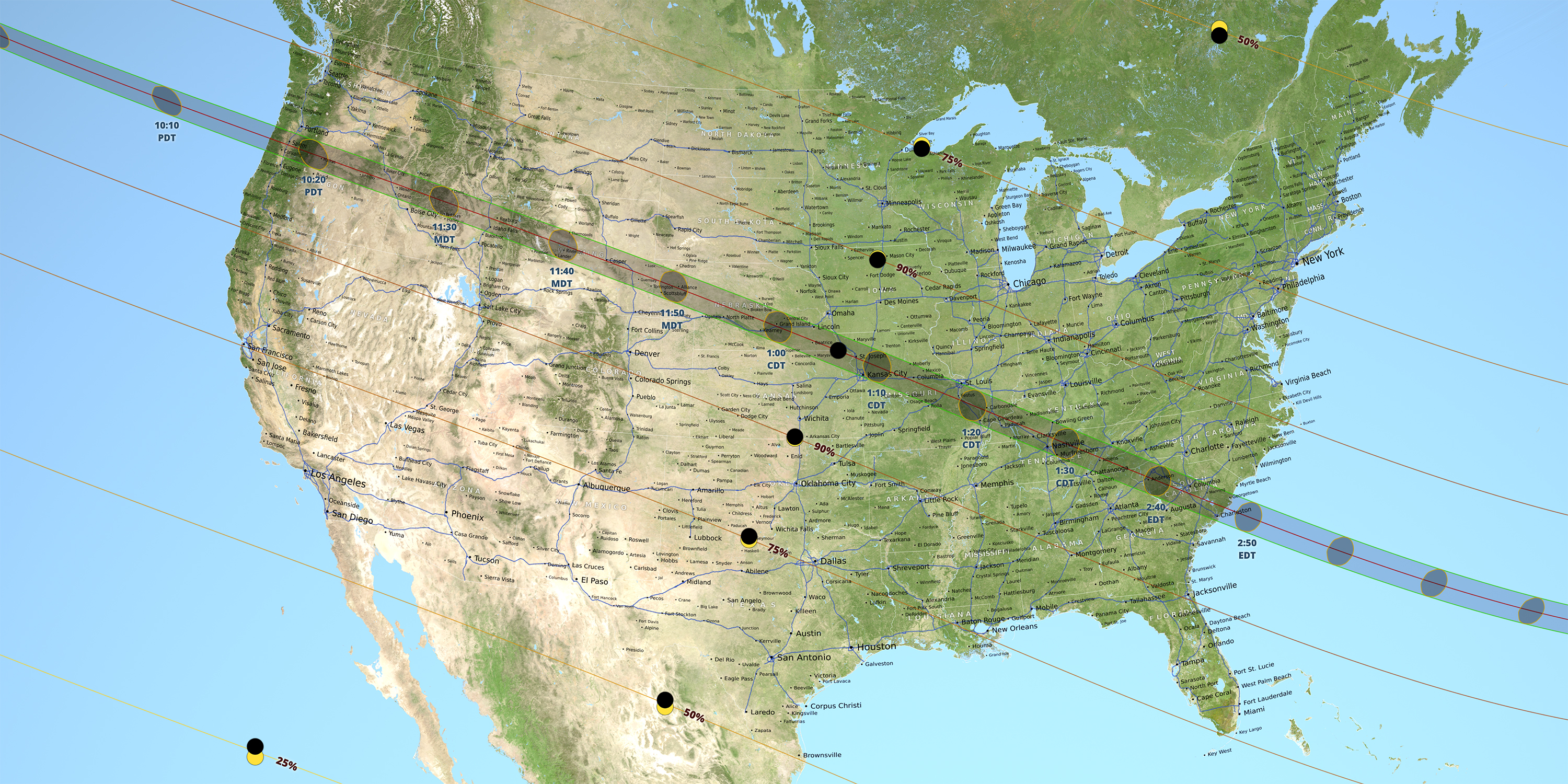 Map Of Us With Shadow Line Northwest To Southeast