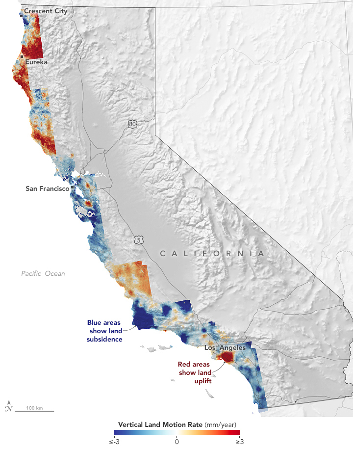 In this map of vertical land motion along California's 1,000-mile (1,500-kilometer) coast, areas shown in blue are subsiding, with darker blue areas sinking faster than lighter blue ones.