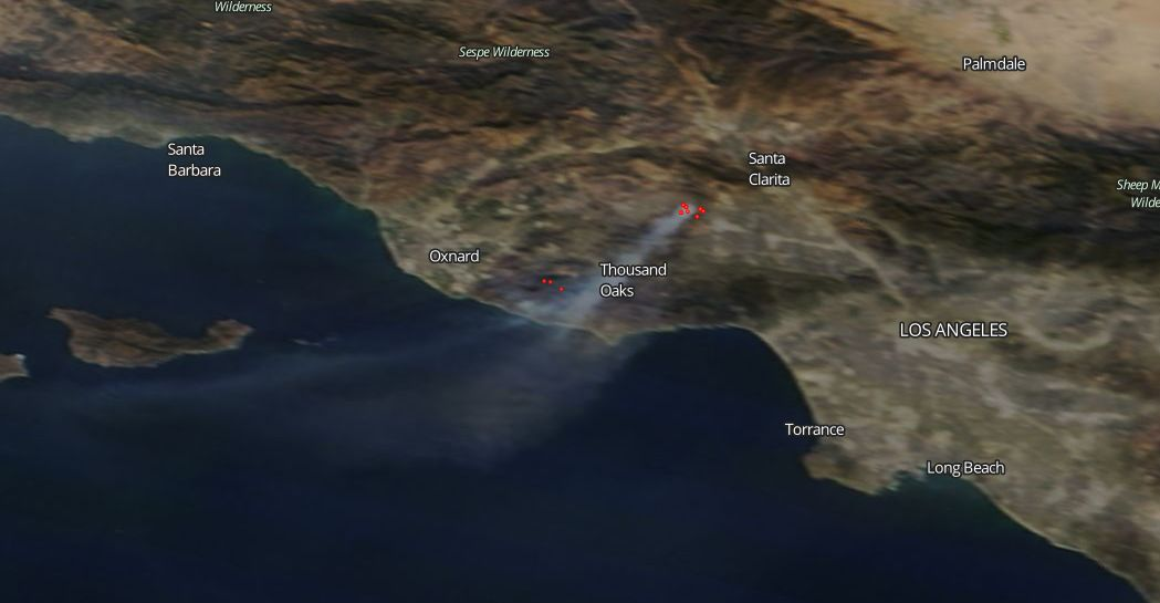 thousand oaks california now dealing with woolsey fire nasa