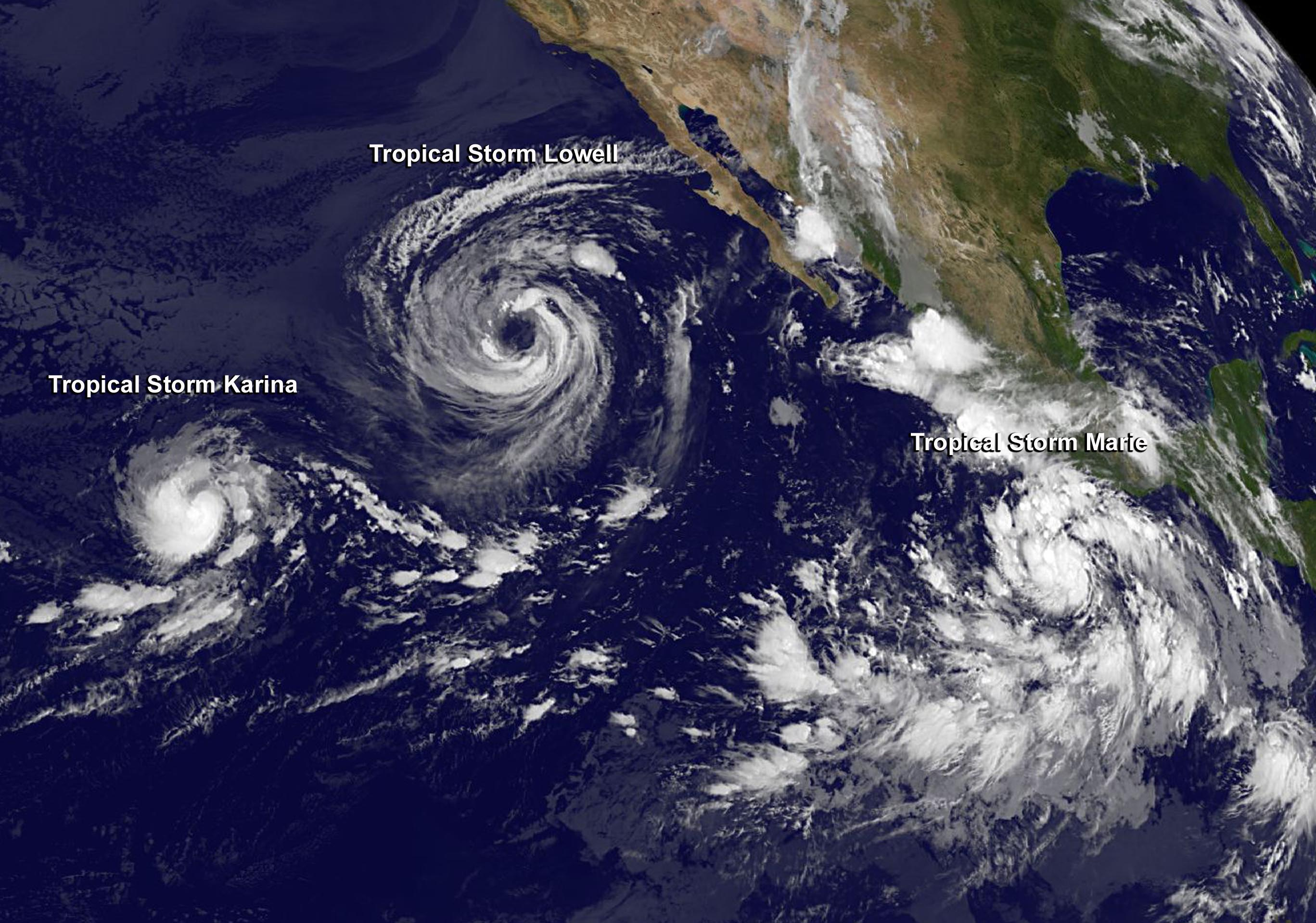 Storm Karina (left), Tropical Storm Lowell (center) and Tropical Storm ...