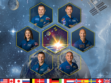 Portrait of Expedition 61 crew (from left) NASA astronaut Andrew Morgan, Roscosmos cosmonaut Alexander Skvortsov, astronaut Luca Parmitano of the European Space Agency (ESA), Roscosmos cosmonaut Oleg Skripochka, and NASA astronauts Jessica Meir and Christina Koch